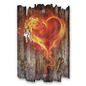 Flammendes Herz Schlüsselbrett Hakenleiste Landhaus Shabby chic aus Holz 30x20cm