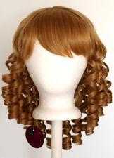 14'' Ringlet Curly Shoulder Length w/ Short Bangs Hazelnut Brown Wig Lolita NEW