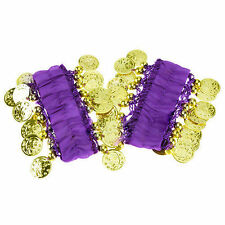 For Belly Dance Elastic Arm Cuff Hand Bracelet Gold Coins Wrist Wear Sound 2 pcs