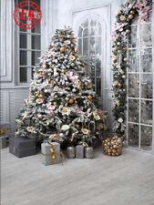 CHRISTMAS TREE GARLAND SILVER GOLD PRESENTS BACKDROP VINYL PHOTO 5X7FT 150X220CM