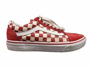Vans Old Skool Checkerboard Red/ White Skate Shoes Mens SZ 8