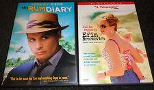 THE RUM DIARY & ERIN BROCKOVICH-2 movies-AARON ECKHART,JOHNNY DEPP,JULIA ROBERTS