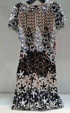 Monique Lhuillier Women's Mixed Lace Midi Cocktail Dress Size 6 445113
