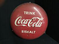 Trink Coca-Cola Eiskalt - Targa di Latta - 55,5 CM Diametro - D 1961