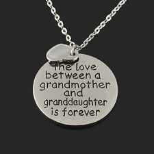 Cute Family Gift Grandmother Granddaughter Love Lovers Pendant Necklace Jewelry