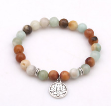 Amazonite mala bracelet beads meditation yoga energy 8 mm 7.5 inches