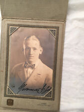 Vintage Photograph Young Man Suit Bow Tie Autographed 3