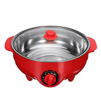 Electric Hot Pot Food Fry Steamer Stainless Steel Cooking Kitchen Cooker 6L