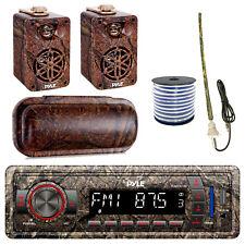 "Pyle Marine Bluetooth Camo Radio + Cover, 2x 3.5"" Speakers, Antenna, 50 Ft Wire"