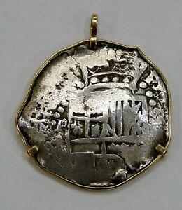 Mexico 8 Reales Silver Cob Spanish Shipwreck Coin Set in 14k Gold Bezel -Atocha?