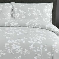 Echelon Home Paloma Gray Floral Cotton FULL QUEEN Duvet Cover Set 3pc
