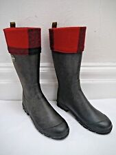 LE CHAMEAU black rubber rain muck boots red check trim women's size 41 WORN ONCE