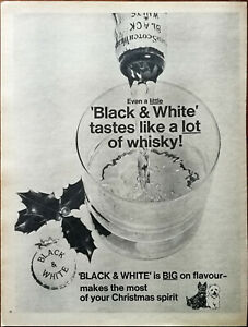Black & White Tastes Like a Lot Of Whiskey! Christmas Spirit Vintage Advert 1966