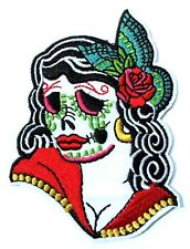Sugar Skull Day of the Dead Quality Iron On Embroidered Patch Flower Butterfly