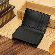 Men Black Leather Bifold Wallet With ID Credit Card Holder Mini Purse Money Clip