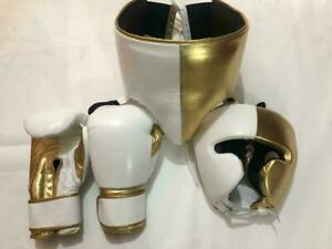 Custom Made White & Gold Boxing Gloves Sparring Set Print Any Logo Or Name,