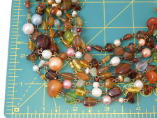 Lia Sophia 8 strand Golden Amber Pearl Wired bead Collar Necklace  2k 18