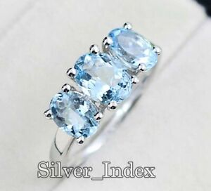 Solid 925 Sterling Silver Aquamarine Natural Oval Gemstone Wedding Ring For Her