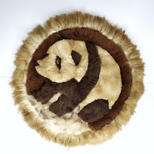 "Vintage Handicraft Alpaca Fur Panda Rug Wall Hanging 23"" Round Soft Boho Peru"
