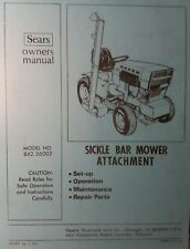Sears Sickle Bar Mower Attach Garden Tractor Owner & Part Manual 842.26002 Haban