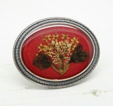 Large French Vintage Signed Red Enamel & Flower Oval BROOCH Pin Jewellery