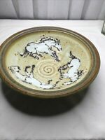 "AMAZING 2006 LARGE 11.5"" STEVEN AYERS STUDIO HANDCRAFTED POTTERY PLATTER BOWL"
