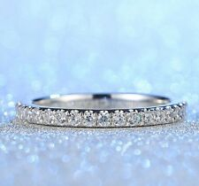 18K White Gold Plated Womens Round Cut Full CZ Wedding Band Ring Gift Size J-V