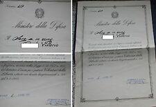 MINISTERO DIFESA DIPLOMA x DISTINTIVO D'ONORE PATRIOTI VOLONTARI LIBERTA' LAGER