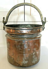 Antique Copper Pot w/Handle Kitchen Metalware Rustic Country Home Decor Gift