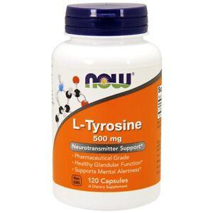 NOW L-Tyrosine 500 mg 120 Caps,Neurotransmitter Support,USP Phamaceutical Grade