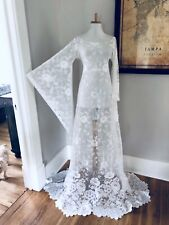 Custom BoHo Sheer CUT OUT Hippy Wedding Maxi DRESS Vtg 70s White Crochet Lace