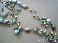 SILPADA Sterling Silver Labradorite Pyrite Amazonite Silk Bead Necklace N1890