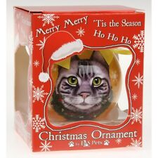 Grey Tabby Cat Christmas Tree Bauble Decoration Memorial Cat Lovers Gift Boxed