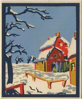 VINTAGE CHRISTMAS FOLK ART FARM HOUSE SNOW SILVER SILK SCREEN GREETING ART CARD