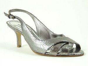 Nine West Women's Freshlooker Slingback Sandals Pewter Leather Size 6 M