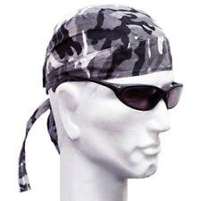 Mens Fitted Bandana Zandana Headscarf Wrap Easy Tie Black Grey Camouflage
