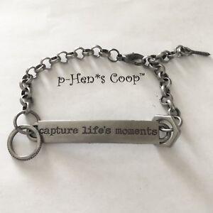 "Steampunk Bracelet Word Band ""capture life's moments"" Unisex  handmade USA 877"
