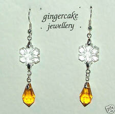 FACETED YELLOW GLASS & CLEAR CRYSTAL FLOWER SILVER PLATED EARRINGS