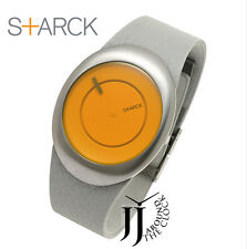 NEW PHILIPPE STARCK BY FOSSIL YELLOW EGG DIAL GRAY LEATHER UNISEX PH6002