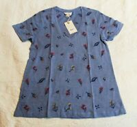 Lucky Brand Women's S/S Tossed Floral Embroidered Tee SV3 Colony Blue Size XS