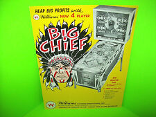 Williams BIG CHIEF 1965 Original Pinball Machine Flipper Game Promo Flyer RARE