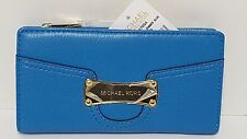 Michael Kors Saratoga Summer Blue T Z Continental Leather Wallet NWT