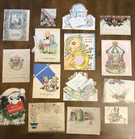 Vtg Lot 15 Greeting Cards Graduation Get Well Birthday Christmas Pop Up Sparkle