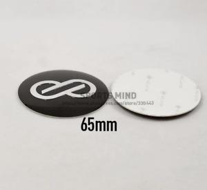 4pcs x 65mm Enkei Racing Black Car Wheel Center Emblem Hub Aluminium Sticker