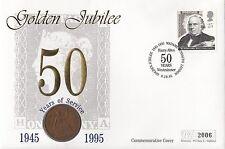 (74400) Gioco GB copertura 1D 1944 MEDAGLIA Madame Tussauds ROWLAND HILL 9 ottobre 1995