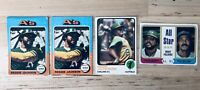 Oakland A's Topps Reggie Jackson 1970's Baseball Card Assortment - 4 Card Set