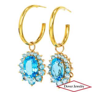 Estate 13.38ct Blue Topaz 14K Gold Half Hoop Enhancer Earrings 12.6 Grams NR