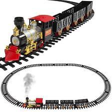 Kids Electric Train Set Steam Engine Smoke Lights Music 3 Cars Locomotive Tracks