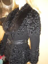 NEW STUNNING $2800 BLACK BROAD TAIL PERSIAN LAMB&FOX JACKET CAVALLI BELT M/6/8