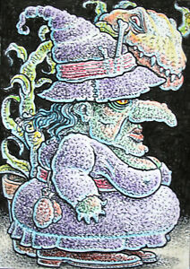 ACEO  Fantasy Original Witch and her Carnivorous Plant